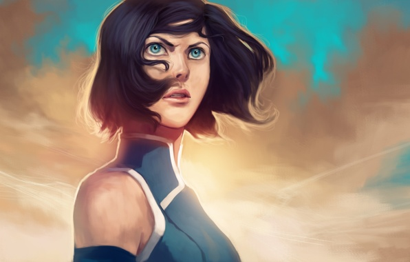 Picture look, face, hair, blue eyes, Times, The Legend of Korra, Avatar: the Legend of Korr.