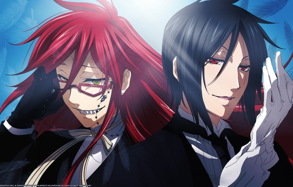 Picture anime, guys, dark Butler, red hair, demon., green, Sebastin