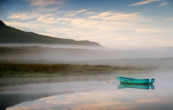 Picture landscape, fog, lake, boat, morning