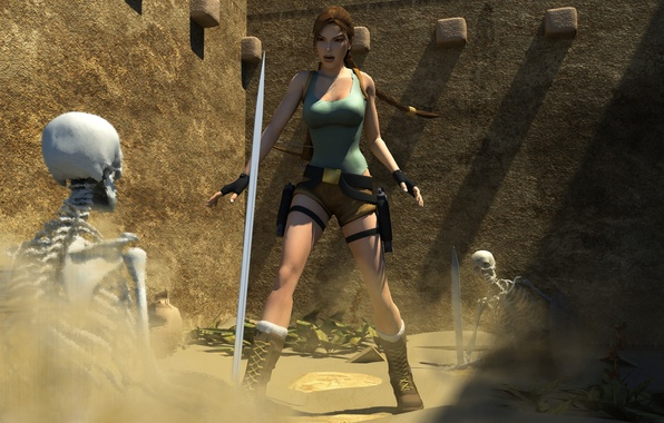Picture sword, skeleton, Tomb Raider, sword, art, Lara Croft, fan