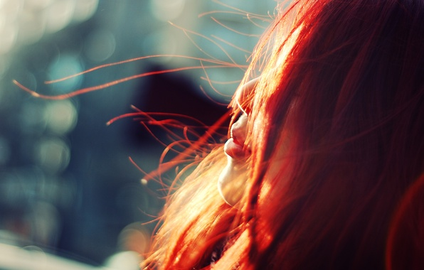 Picture girl, the wind, profile, redhead