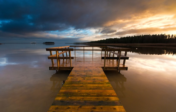 Picture forest, the sky, sunset, clouds, bridge, lake, the evening, wooden, Sweden, the bridge, Varmland County