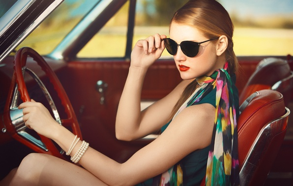 Picture girl, glasses, bracelet, car, salon