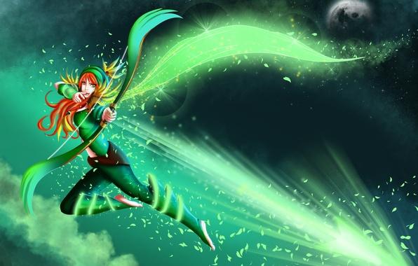 Picture girl, Archer, dota 2, windrunner, Windranger, lyralei