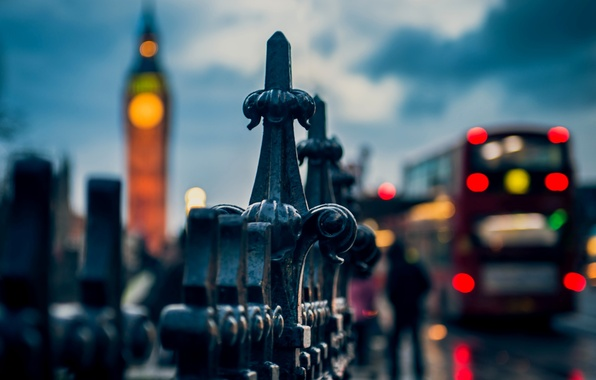 Picture macro, the city, lights, people, the fence, England, London, the evening, fence, the fence, UK, …