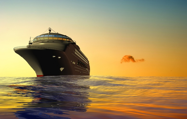 Picture sea, the sky, ship, cruise liner, 3D