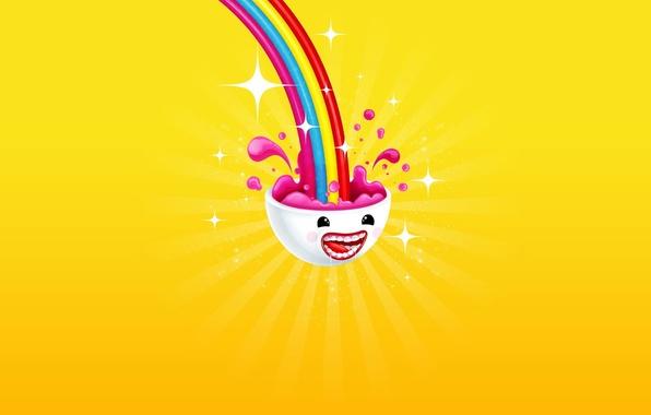 Picture joy, yellow, color, rainbow, minimalism, head