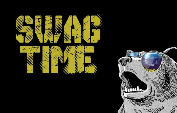 Picture bear, minimalism, glasses, time, swag, swag time