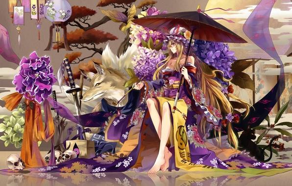 Picture girl, flowers, tree, skull, wolf, tube, sword, katana, umbrella, lights, kimono, hydrangea, Touhou, strikingly is …