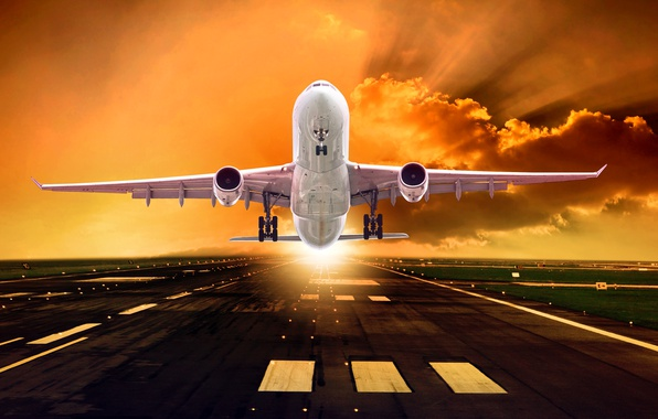 Picture the sky, asphalt, the sun, clouds, rays, lights, the plane, dawn, runway, passenger, takes off