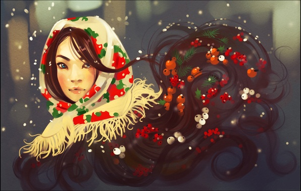 Picture winter, look, girl, face, berries, hair, shawl