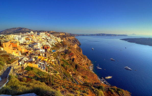 Picture sea, the sky, rocks, blue, coast, home, boats, Greece, horizon, panorama, Bay, boats, Santorini, clean