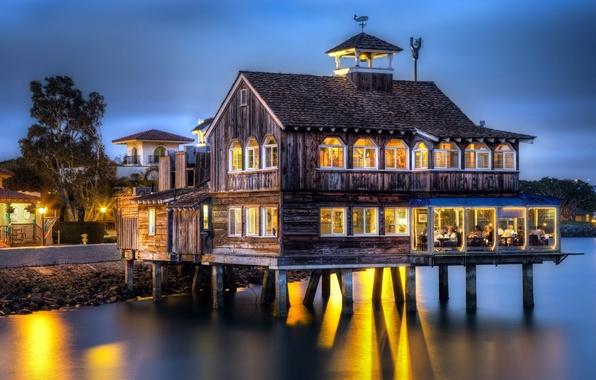 Picture lights, house, sea, coast, wood