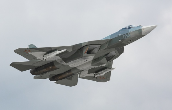 Picture the sky, height, fighter, missiles, flight, the plane, T-50, BBC, weapons, generation, fifth, Russia, multipurpose, ...