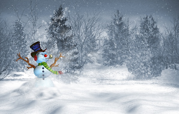 Picture winter, snow, trees, landscape, mountains, nature, house, new year, Christmas, snowman
