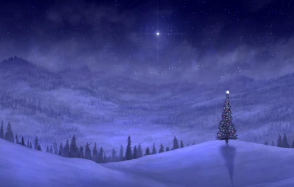 Picture winter, snow, mountains, night, lights, holiday, hills, spruce, art, tree, garland