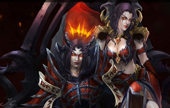 Picture girl, the demon, art, horns, World of Warcraft, guy