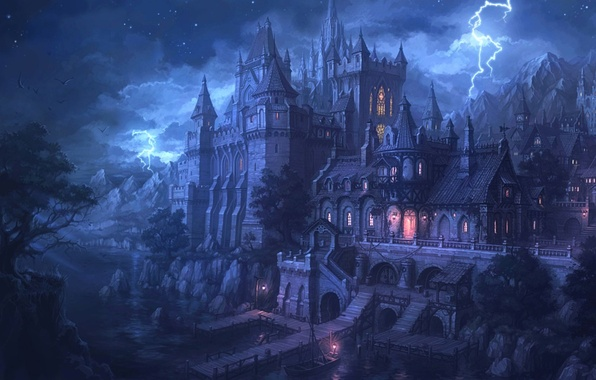 Picture water, night, lights, castle, lightning, Marina, fortress