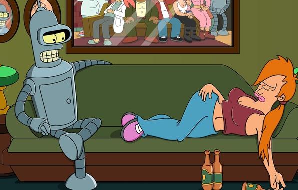 Picture futurama, Bender, Fry, planet express