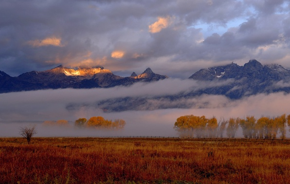 Picture autumn, the sky, light, mountains, fog, morning