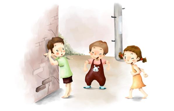 Picture children, figure, laughter, hide and seek, braids, fun, pranks