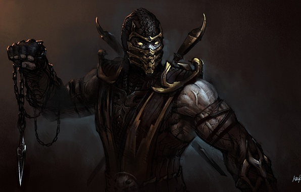 Picture mask, art, chain, knife, Mortal Kombat, Scorpion, droxia