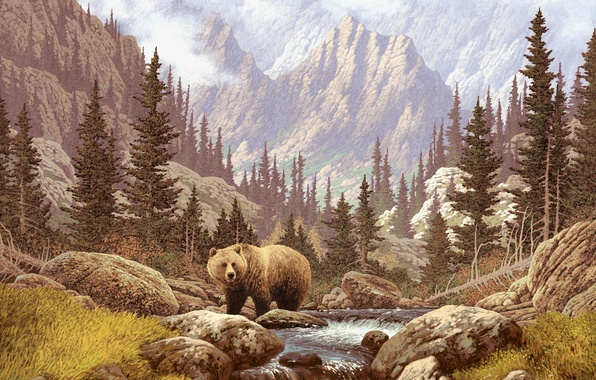 Picture the sky, landscape, mountains, stream, picture, bear, river