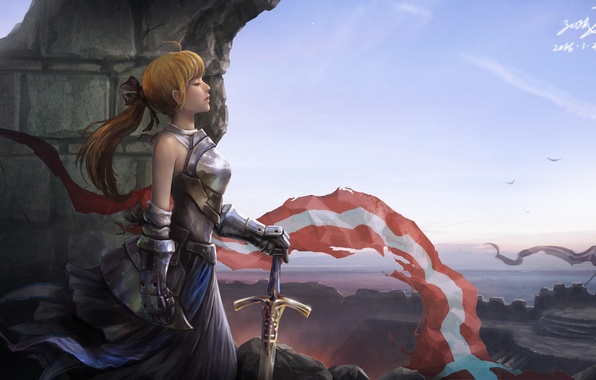 Picture girl, face, sword, armor, profile, flags, fortress, fantasy, weapons. art