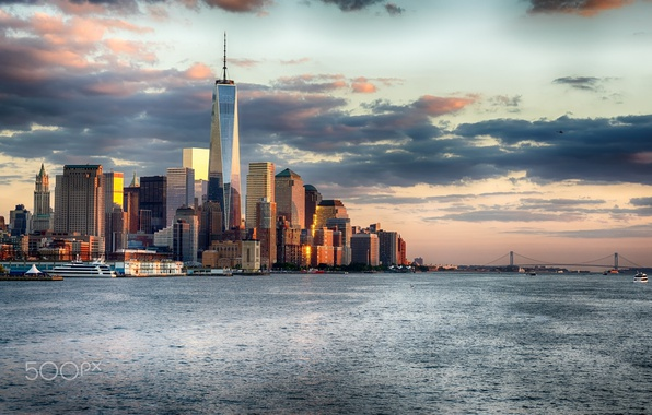 Picture sea, bridge, the city, the ocean, USA, New York