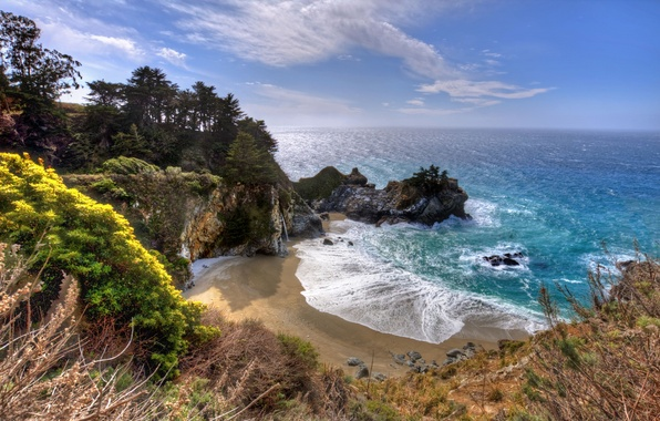 Picture rock, the ocean, waterfall, Bay, California, Big Sur, McWay Falls, Julia Pfeiffer Burns State Park