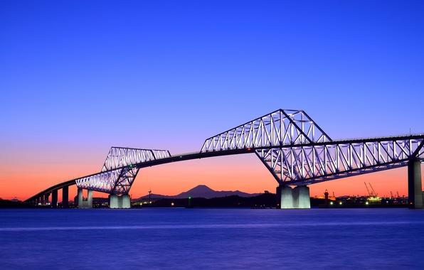 Picture the sky, sunset, orange, bridge, the evening, Japan, Tokyo, Bay, blue, capital