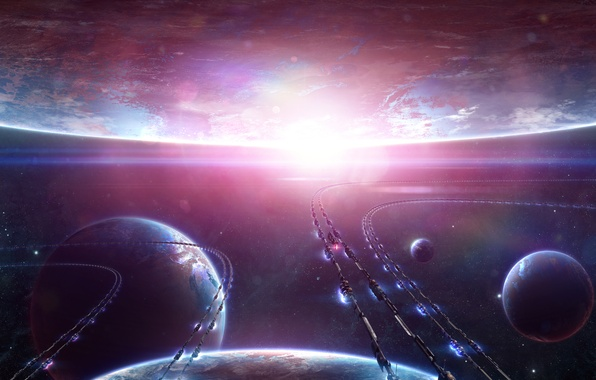 Picture space, transport, star, planet, ships, art, Alienphysique, Katherl Hannes