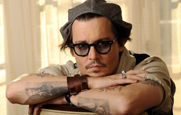 Picture look, tattoo, glasses, actor, cap, johnny depp