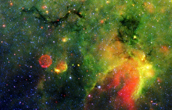 Picture space, nebula, gas, green