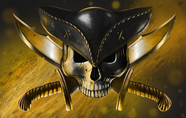 Picture weapons, skull, hat, art, pirate, knives, Jolly Roger
