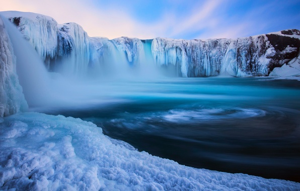 Picture winter, snow, nature, waterfall, ice, Iceland, December, Godafoss, By Eggles