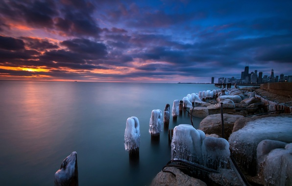 Picture winter, sunset, Chicago, USA