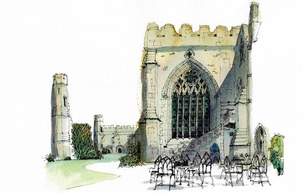 Picture Park, paint, figure, chairs, Chapel, Wales