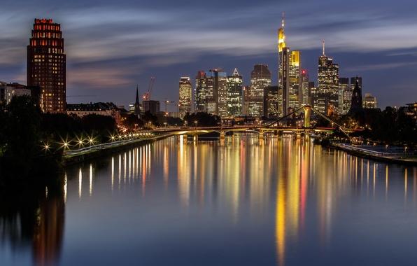 Picture night, bridge, lights, home, Germany, Frankfurt am main