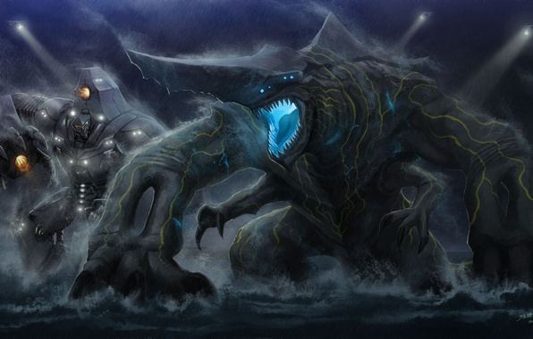Picture robot, monster, art, Pacific Rim, Pacific rim