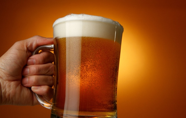 Picture glass, beer, hand, drink, delicious, foam, amber