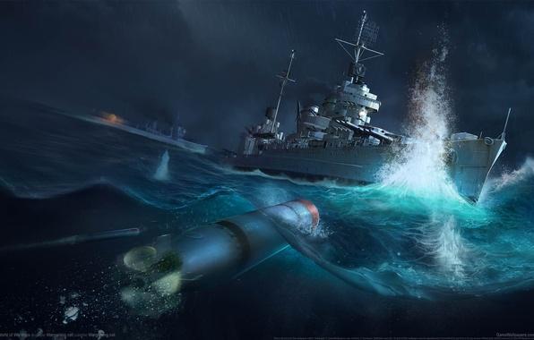 Picture sea, the explosion, torpedo, destroyer, World of Warships, Battle of Tassafaronga, World of warships, The …