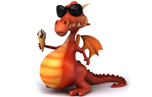 Picture character, dragon, funny, ice cream