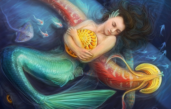 Picture sea, girl, fish, mermaid, shell, art