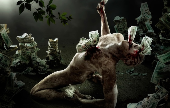 Picture people, money, figure, horror, dollars, greed, bills, trash, greed