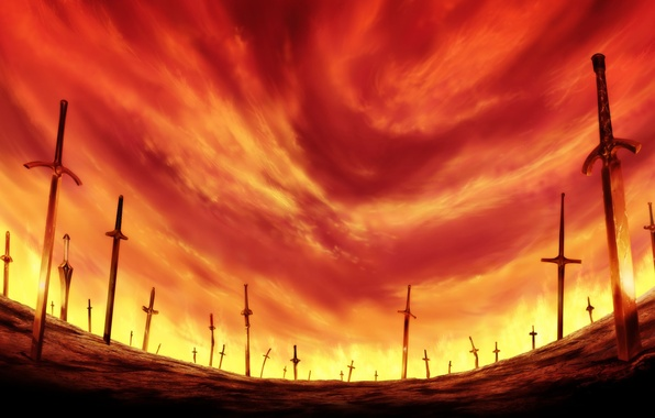 Picture field, the sky, glow, swords, bloody