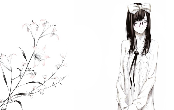 Picture flowers, figure, Lily, Girl, glasses, bow, art, Sawasawa