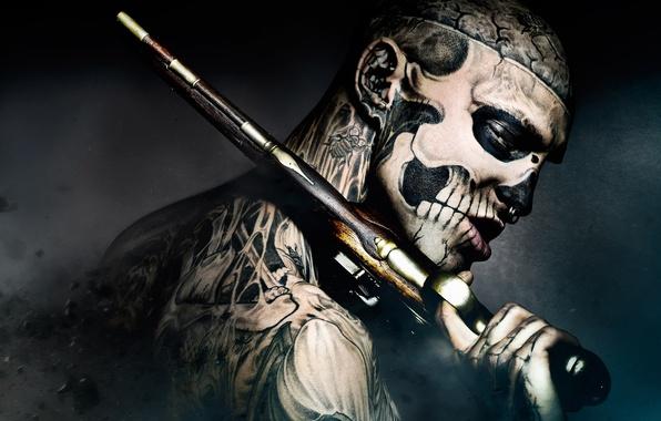Picture gun, movie, guy, tattoo, Freak, 47 Ronin, freak