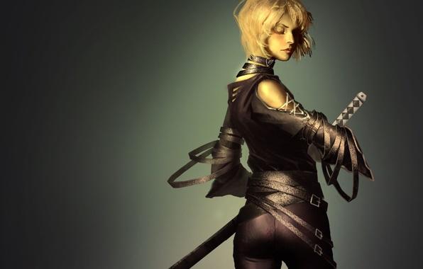 Picture girl, sword, katana, art, blonde, back, straps