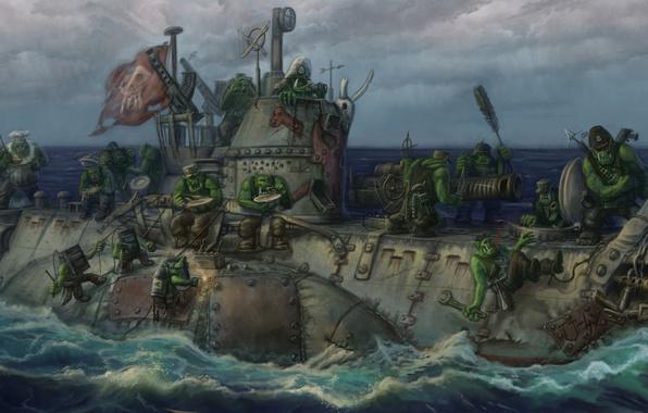 Picture submarine, Warhammer 40000, warhammer, Orc, orcs submarine